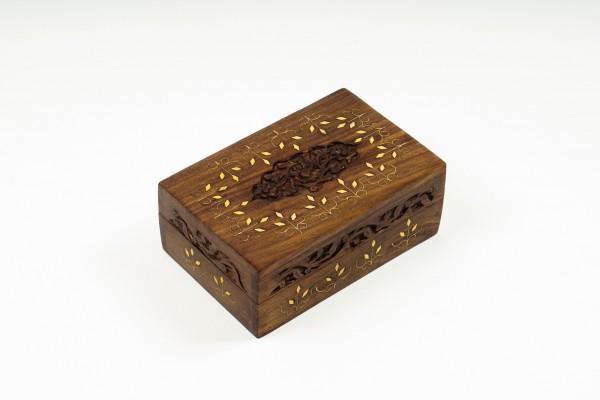 Holzschatulle mit Messingintarsien, braun, L 15 cm, B 10 cm, H 6 cm