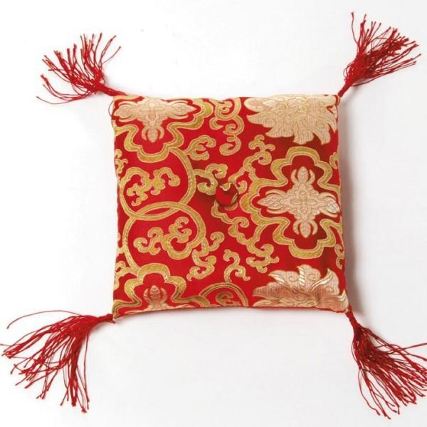 Klangschalenkissen, rot/gold, L 16 cm, B 16 cm, H 6 cm