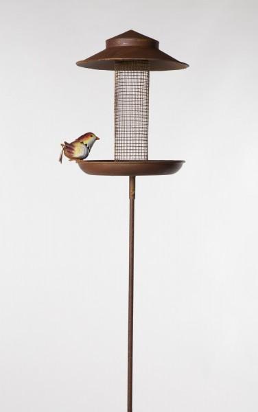 Vogelfuttersilo 'Buchfink', rostbraun, Ø 21 cm, H 128 cm