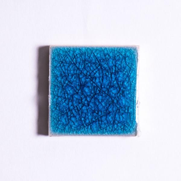 Fliese 'Craquele', himmelblau, L 5 cm, B 5 cm