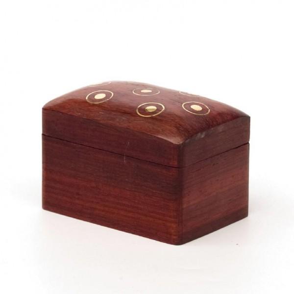 Minitruhe mit Messingintarsien, braun, L 5 cm, B 7 cm, H 5 cm