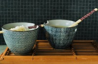 Schalen, 2er-Set mit Essstäbchen, blau, weiß, Ø 14 cm, H 11 cm