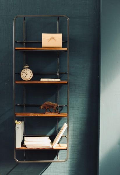 Regal 'Balda' 4 Fächer, braun, schwarz, T 15 cm, B 45 cm, H 120 cm