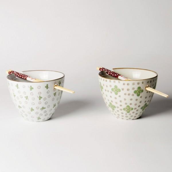 Suppenschale Set in Geschenkbox, grün/weiß, H 10 cm, Ø 13,5 cm