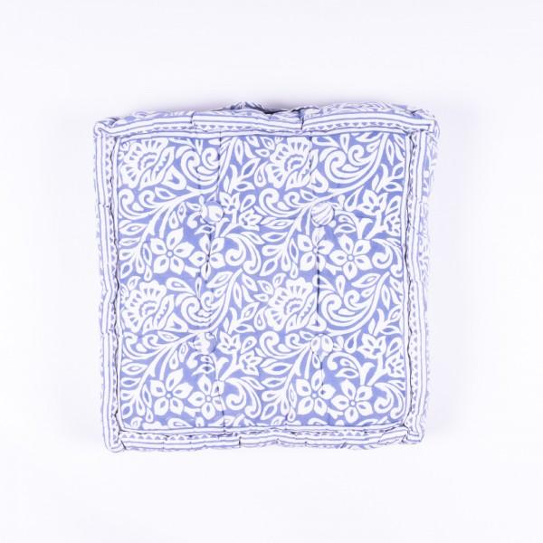 """Sitzkissen """"Flower"""", manuelles Blockprintverfahren, L 38 cm, B 38 cm, H 10 cm"""