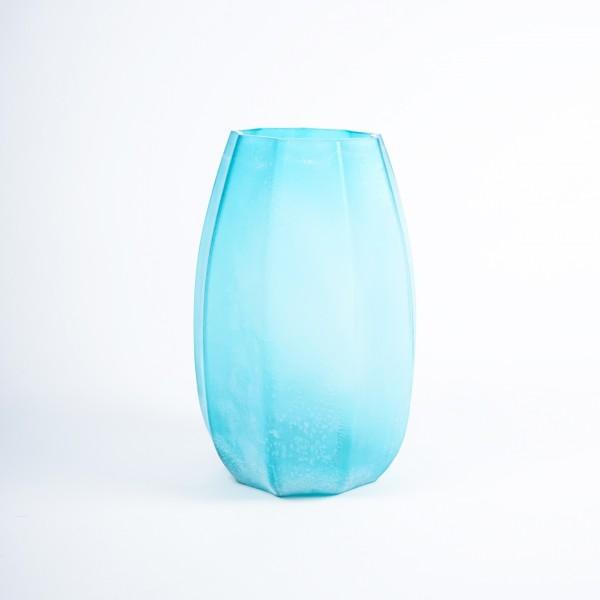 Glasvase gefrostet, türkis, Ø 25 cm, H 37 cm