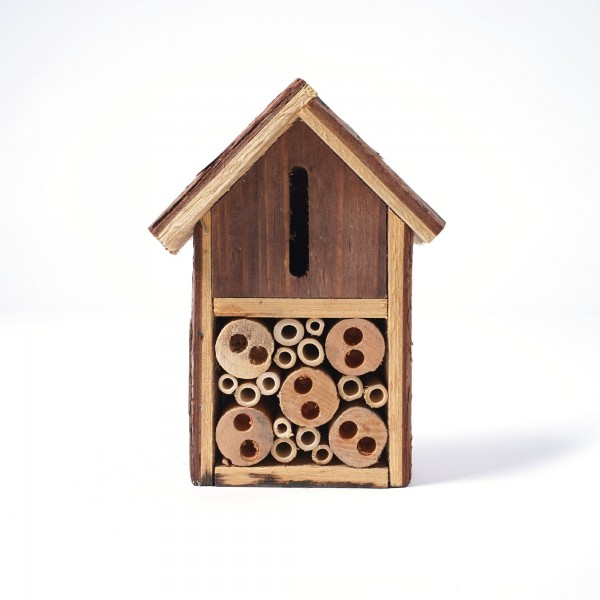 Insekten-Maisonette aus Fichtenholz und Bambus, L 8 cm, B 12 cm, H 20 cm