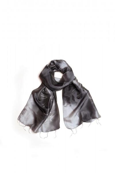 Seidenschal mit Batikdruck, grau, L 175 cm, B 40 cm