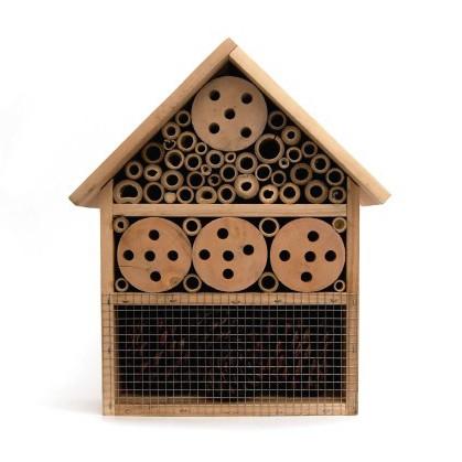 Insekten-Landhaus aus Fichtenholz und Bambus, B 24 cm, H 30 cm