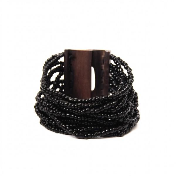 Armreif mit Holzverschluss, schwarz