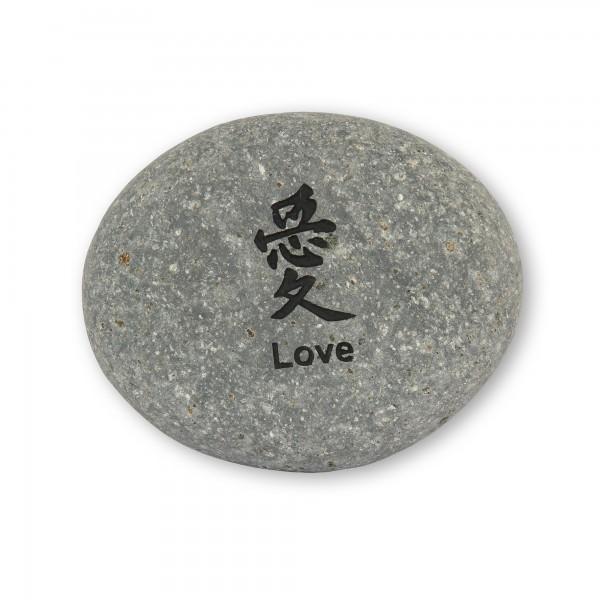 Flusskieselstein 'Love', grau, T 8 cm, B 8 cm