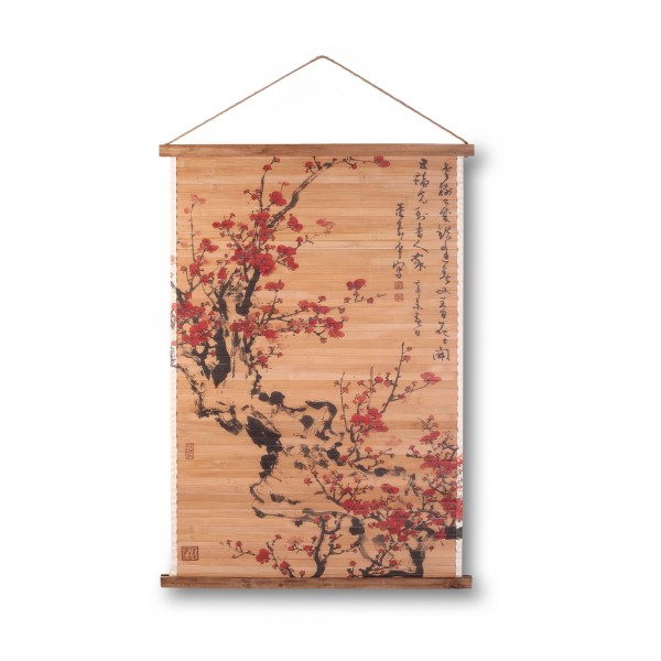Rollbild Bambus 'Prunus', multicolor, T 2 cm, B 64 cm, H 92 cm