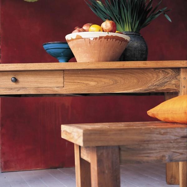 Holzbank aus recyceltem Teak, natur, H 47 cm, B 250 cm, T 35 cm