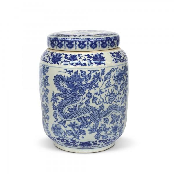 Deckeldose 'Lián', weiß, blau, Ø 27 cm, H 34 cm