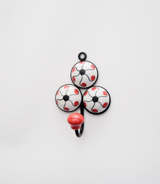 Wandhaken Dreieck, weiß, rot, schwarz, B 8 cm, H 9 cm