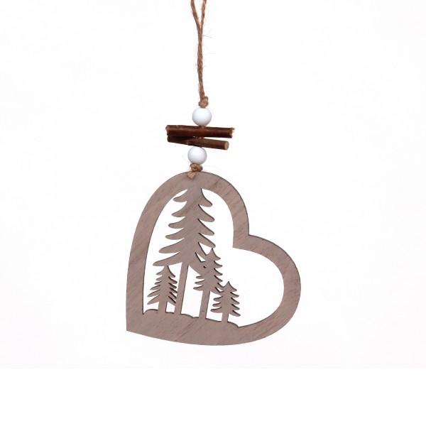 Holzanhänger Herz mit Bäumen, natur, T 10,5 cm, B 11 cm, H 0,5 cm