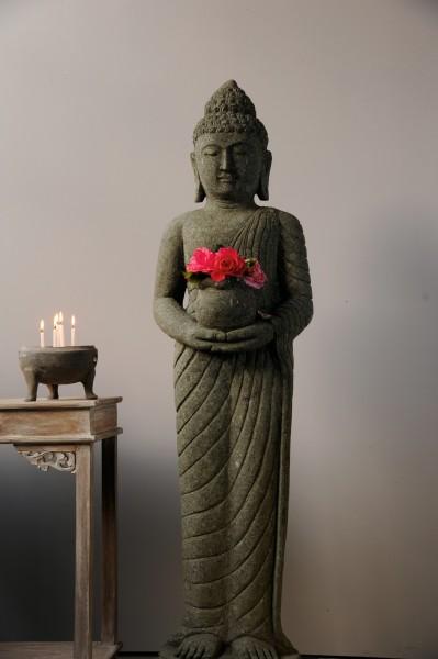 Buddha-Skulptur, natur, T 25 cm, B 40 cm, H 150 cm