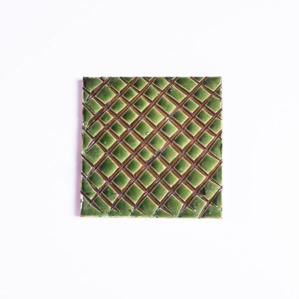"""Geprägte Fliese """"Réseau vert"""", grün, L 10 cm, B 10 cm"""