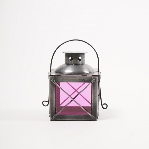 "Laterne ""Rechteck"", silber/pink, L 6 cm, B 6 cm, H 9 cm"