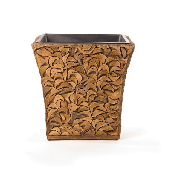 """Übertopf """"Kokos"""" aus Kokosholz mit Kunststoffeinsatz, L 25 cm, B 25 cm, H 25 cm"""