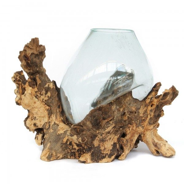Wurzelholz-Glasvase, natur, klar, T 35 cm, B 35 cm, H 50 cm