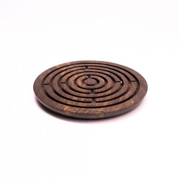 Kugellabyrinth-Spiel aus Palisanderholz, braun, Ø 23 cm