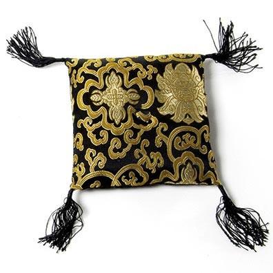 Klangschalenkissen, schwarz/gold, L 20 cm, B 20 cm, H 5 cm
