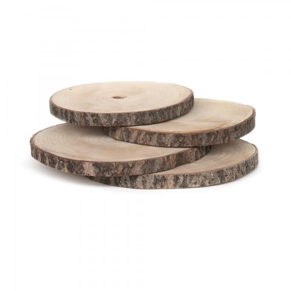 Holzscheiben, unbehandelt, 4er-Pack, natur, Ø 31-33 cm, H 2 cm