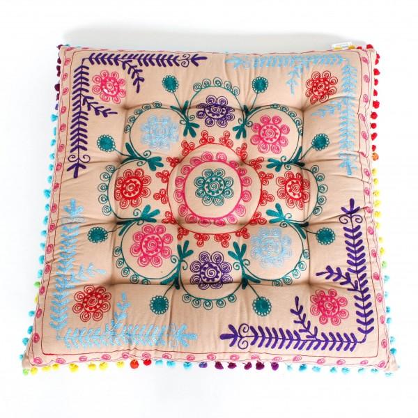 """Sitzkissen """"Asha"""", beige/multicolor, L 60 cm, B 60 cm, H 10 cm"""