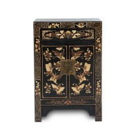 Kommode 'Schmetterling', 1 Schublade, 2 Türen, schwarz, T 32 cm, B 40 cm, H 60 cm