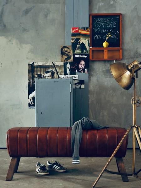 Sitzbank 'Johnny', braun, T 127 cm, B 34 cm, H 52 cm