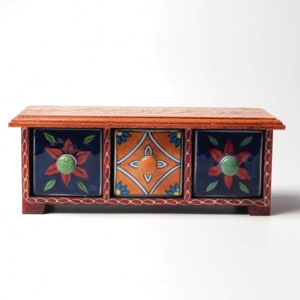 Schubladentruhe mit 3 Schubladen, orange/rot/blau, L 10 cm, B 30 cm, H 11 cm