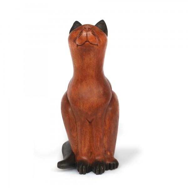 Katze groß, Kopf erhoben, natur, T 30 cm, B 23 cm, H 53 cm