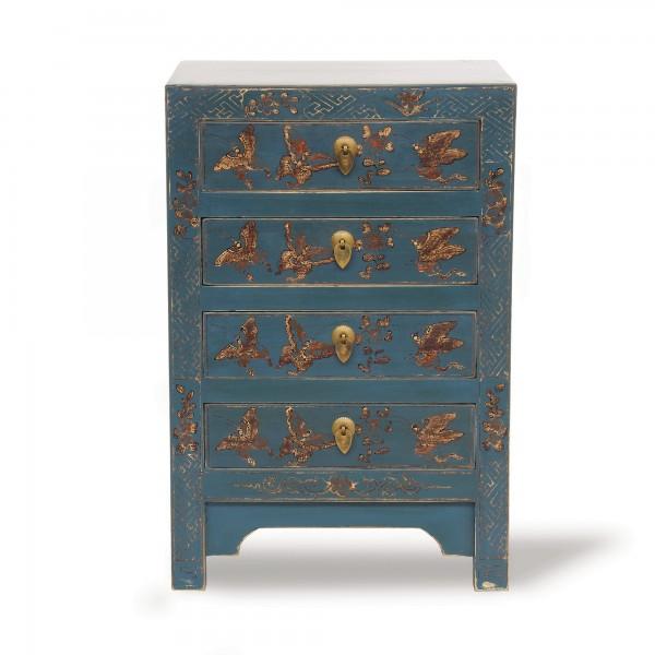 Kommode 'Schmetterling', 4 Schubladen, blau, T 32 cm, B 40 cm, H 60 cm