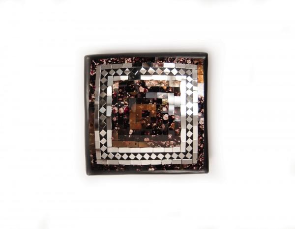 "Glasmosaikteller ""Brownie M"", braun, L 25 cm, B 25 cm, H 6 cm"