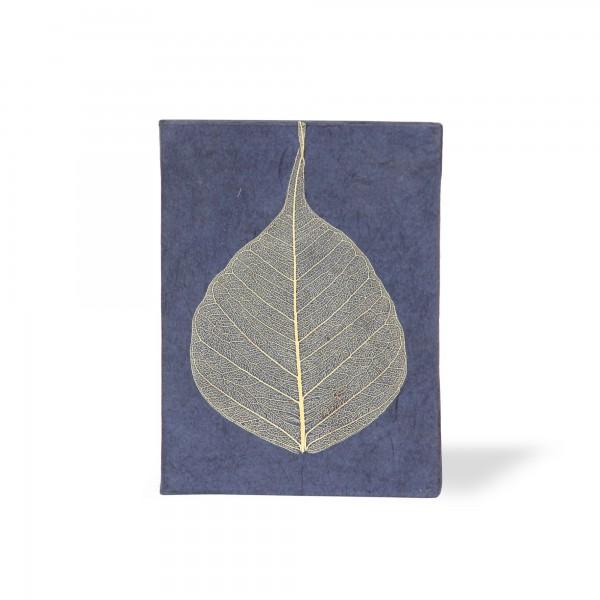 Notizbuch mit Blatt, blau, T 7,5 cm, B 5,5 cm, H 1 cm