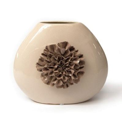 """Keramikvase """"Dianthus quadra"""" mit handmodellierten Blüten, H 29 cm"""