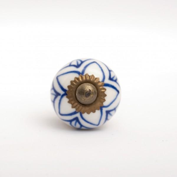 Türknauf rund, blau/weiß, Ø 3 cm