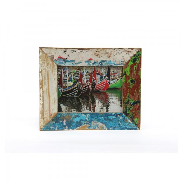 Fotorahmen aus Bootsholz, multicolor, T 3 cm, B 28 cm, H 23 cm