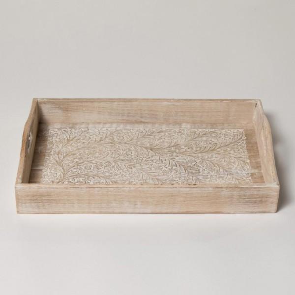"""Tablett """"Sajili"""", antik-weiß, L 42 cm, B 27 cm, H 5,5 cm"""