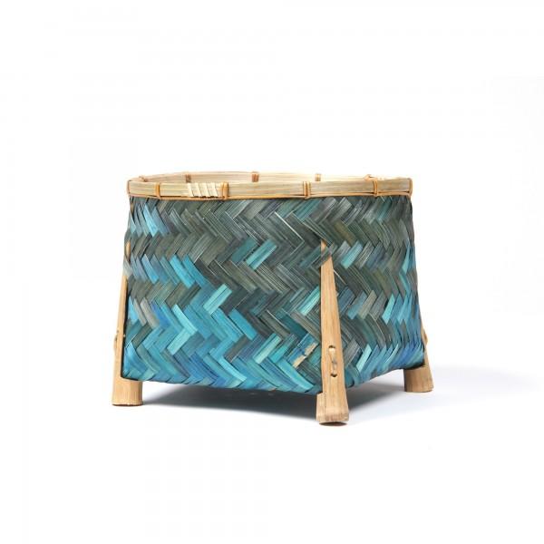 Bambuskorb, türkis, Ø 23 cm, H 18 cm