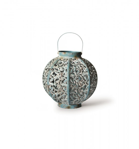 "Laterne ""Cairns"", antik-türkis, H 27 cm, Ø 28 cm"