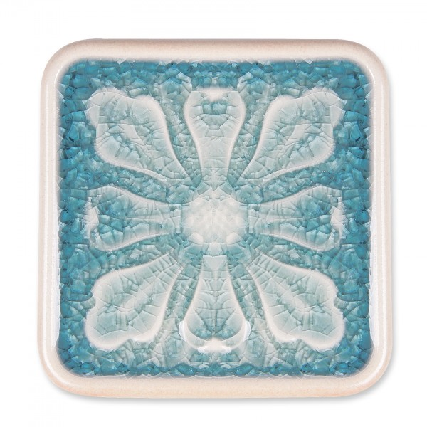 "Untersetzer ""Blatt"", blau, L 10 cm, B 10 cm, H 1 cm"