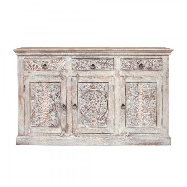 Sideboard 'Germois' gebürstet, natur, weiß gekälkt, T 40 cm, B 150 cm, H 90 cm