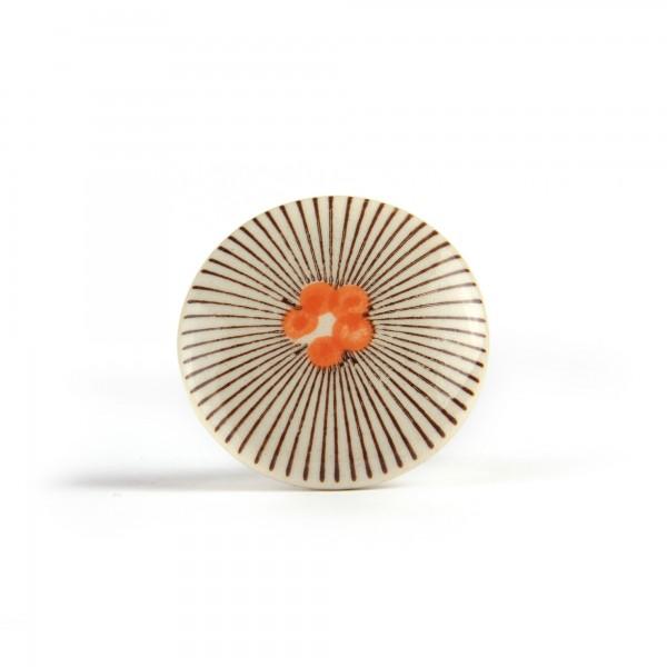 Keramik-Knauf 'Punkte mit Strahlen', schwarz, orange, Ø 4 cm, H 2,5 cm