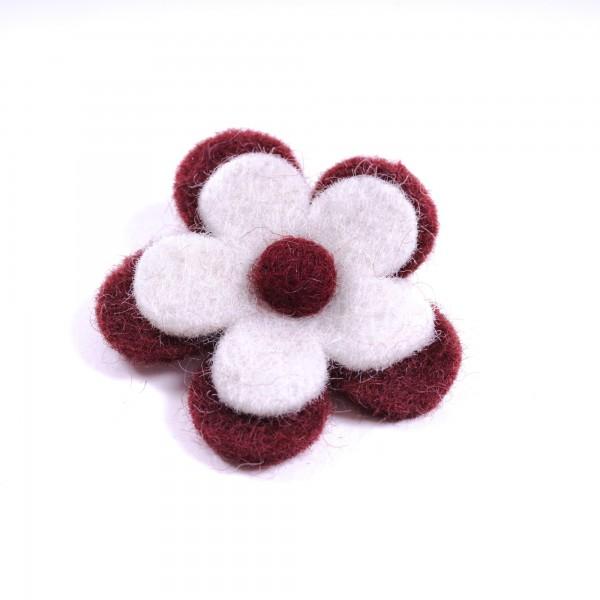"""Brosche """"Blütenblätter"""", aus Filz, weinrot/weiß"""