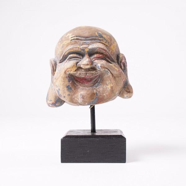 lachender Buddha, klein, natur, T 14 cm, B 12 cm, H 19 cm