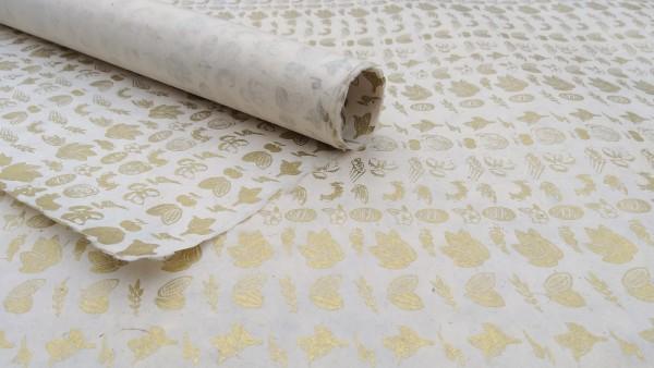 Geschenkpapier, beige, gold, L 76 cm, B 51 cm