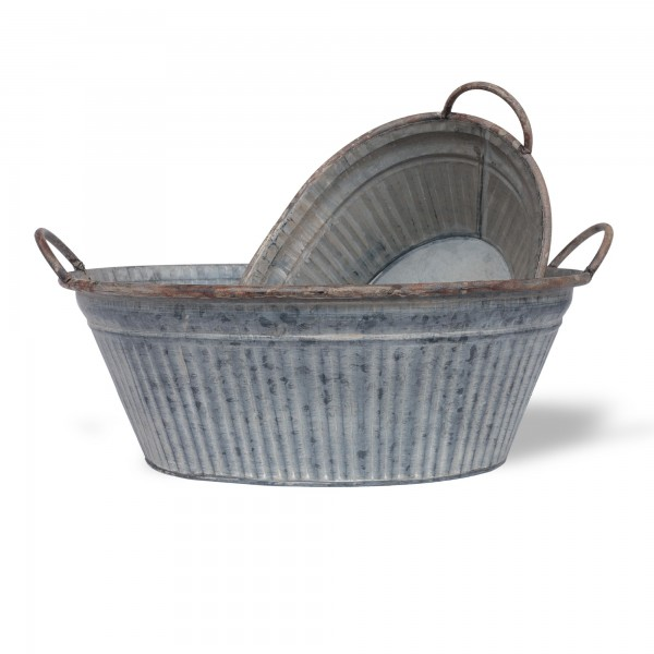ovale Wanne mit Palmenmuster S, grau, T 26,5 cm, B 35,5 cm, H 15 cm