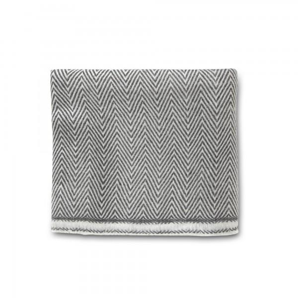 Wolldecke 'Isak', schwarz, weiß, T 270 cm, B 135 cm